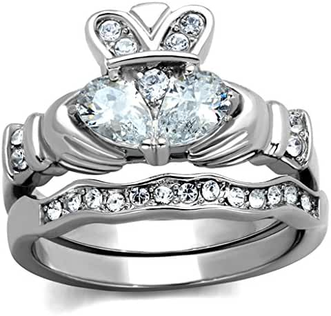 Womens Stainless Steel Clear Cubic Zirconia Claddagh Ring Set