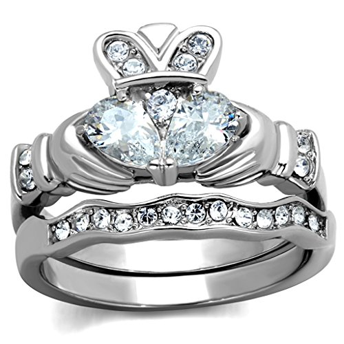 Womens Stainless Steel Clear Cubic Zirconia Claddagh Ring Set,Size:7
