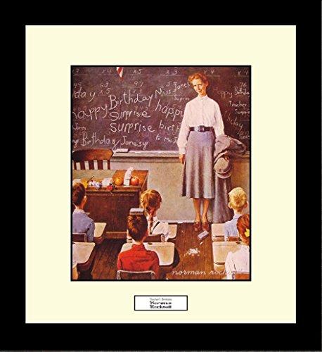Norman Rockwell TEACHER'S BIRTHDAY Framed Teacher Wall Hanging Art Gift