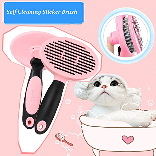 Machao Pet Retractile Self Cleaning City slicker Brush & Grooming ,Shedding ,Trimming ,Deshedding Tool For Cats,Rabbits,Dogs-Removes Tangled Matted Fur-Pink