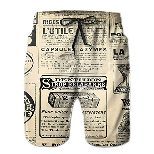 Vintage Newspaper with Advertisement Men's Beach Boardshort Summer Casual Workout Pants with Pockets ()