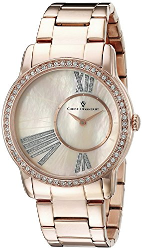 Christian Van Sant Women's CV3613 Analog Display Quartz Rose Gold Watch -