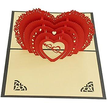 Amazon heart pop up card 3d paper craft greeting cards for all heart pop up card 3d paper craft greeting cards for all occasions romantics lovers m4hsunfo
