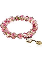 "Betsey Johnson ""Tzarina Princess"" Pink Flower Bead Stretch Bracelet, 2.5"""