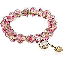 Betsey Johnson Womens Tzarina Pink Beads Stretch Bracelet