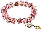 Betsey Johnson Tzarina Princess Pink Flower Bead Stretch Bracelet, 2.5''