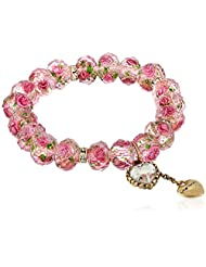 "Betsey Johnson ""Tzarina Princess"" Pink Flower Bead Stretch Bracelet, 2.5"""