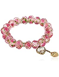 Betsey Johnson Womens Tzarina Pink Beads Stretch Bracelet