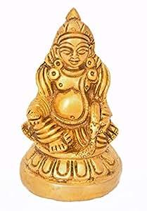 Exotic India Kubera: El Dios de la Riqueza (Pequeña Estatua)–Estatua de Latón