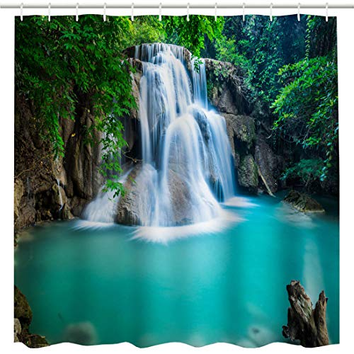 BROSHAN Polyester Shower Curtain Nature, Summer Tropical Jungle Tree Forest Waterfall Lake Landscape Bath Curtain Photo, Outdoor Waterproof Fabric Bathroom Shower Curtain with Hooks,72 x 72 Inch (Waterfall Shower Curtain)