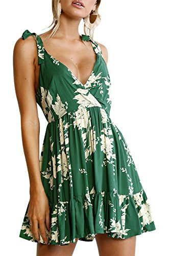 Sexy Dress Women Summer Deep V Neck Floral Backless Short Dresses Party Club Beach (M)