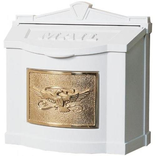 (Gaines Eagle Design Wall Mount Mailbox With Locking Insert - White Polished)