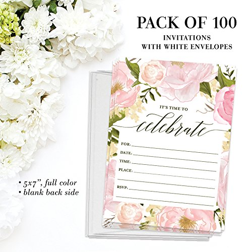 All Occasion Invites ( 100 ) & Thank You Cards ( 100 ) Matched Set with Envelopes Any Large Event Graduation Birthday Shower Fill-in-Style Guest Invitation & Folded Thank You Notes Great Value Pair by Digibuddha (Image #3)