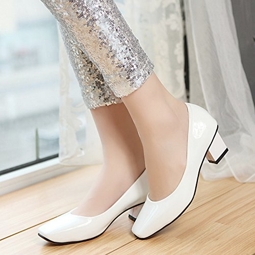 COOLCEPT Mujer Moda Sin Cordones Heel Zapatos Tacon Ancho medio Bombas Zapatos Blanco