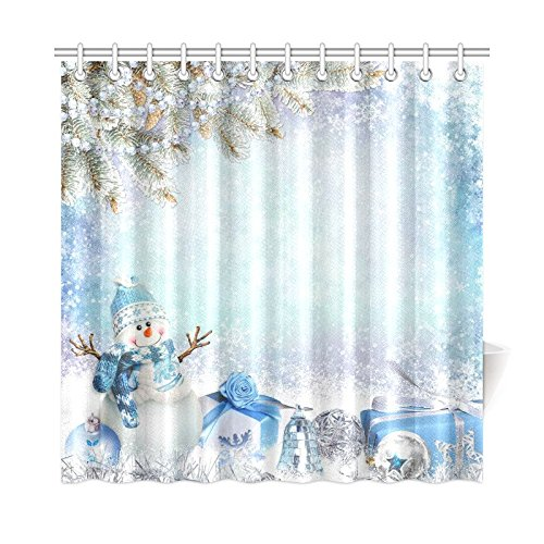 SnowmanPolyester Fabric Shower Curtain Bathroom Sets with Hooks 72 X 72 Inches