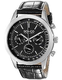 SO & CO New York Men's 5006AL.2 Monticello Analog Display Quartz Black Watch