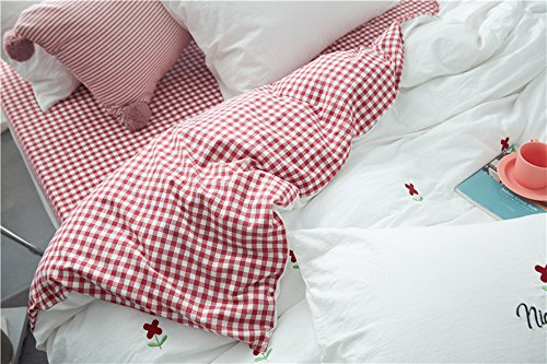 HIGHBUY Soft Cotton Embroidery Floral Twin Duvet Cover Sets White for Women Girls Reversible Red Geometric Grid Kids Bedding Sets Twin Children Single Bed Comforter Cover with Zipper Closure,Twin by HIGHBUY (Image #2)