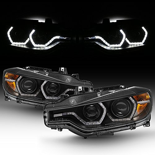 For BMW F30 3-Series 4 Doors Sedan Black Bezel Factory Halogen Type Dual U-Halo Ring LED Projector Headlights