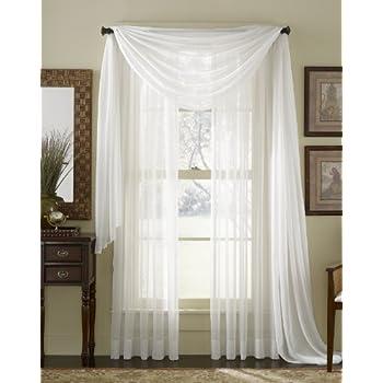 Amazon Com 63 Quot Long Sheer Curtain Panel White Home