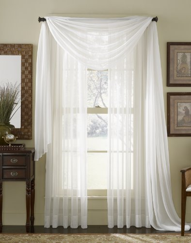 Sheer Voile Curtain Scarf - 216 Inch Length (White)