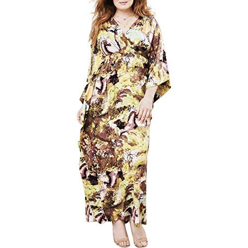 Melissa McCarthy Seven7 Women's Plus Size Cascade Draped Maxi Dress, Urban Cowboy, 2X