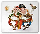 : Pirate Mouse Pad by Lunarable, Two Drunk Pirates Drinking Holding Each Other Funny Freebooter Corsairs with Weapons, Standard Size Rectangle Non-Slip Rubber Mousepad, Multicolor