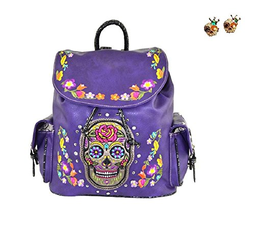 Purple Skull Womens Biker Concealed Carry Backpack - Bonus Earrings