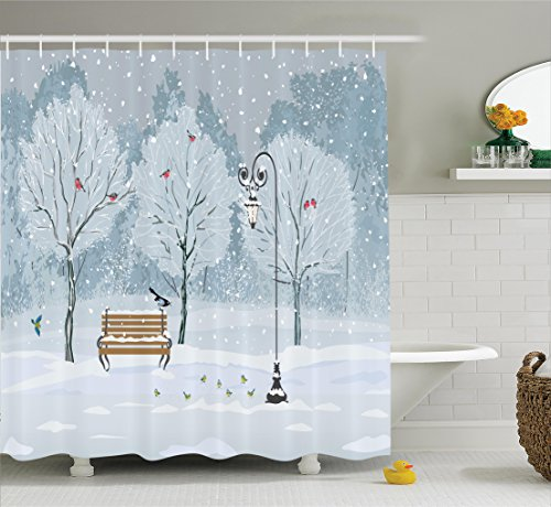 Ambesonne Farm House Decor Shower Curtain Set, Snow Falling in The Park On A Cold Winter Day Birds Lanterns Chirstmas Season Picture, Bathroom Accessories, 69W X 70L inches, Blue White -