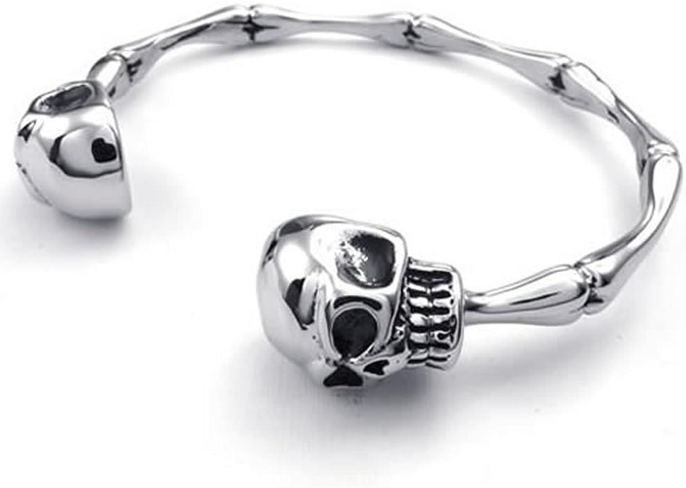 Bracelet Acier Inoxydable Femmes Homme Crâne Tete De Mort Squelette Bijoux Mode