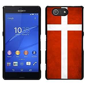 Caucho caso de Shell duro de la cubierta de accesorios de protección BY RAYDREAMMM - Sony Xperia Z3 Compact - Nacional bandera de la nación País Dinamarca