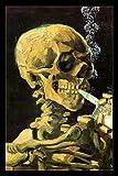 e cigarette vapor juice - Vaping Skull of A Skeleton Van Gogh Parody Art Humor Poster 12x18 inch