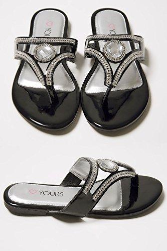 Wide Fit Women's Diamante Embellished Toe Post Flat Sandals In True Eee Fit Black JdY6xaz0