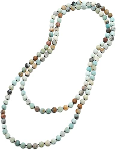 60 Inch Long Extra Long Bead Natural Stone Finish Necklace Turquoise