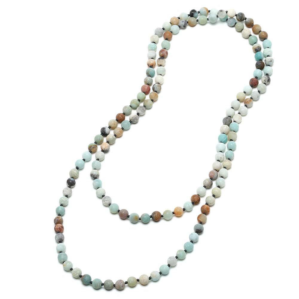 Natural Matte Amazonite Stones Endless Necklace Long Knotted 8 mm Beaded Handmade Jewelry by Aobei