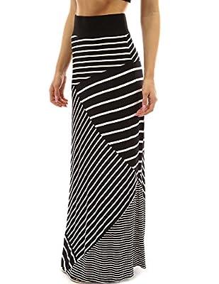 PattyBoutik Striped Geometric Full Length Maxi Skirt