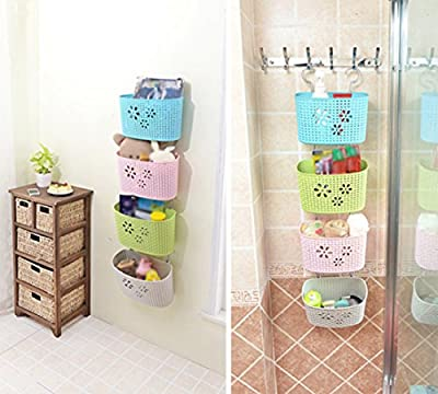 Freedi Storage Basket Plastic Bathroom Kitchen Hanging Organizer Holder for Shampoo Cosmetics Food Vegetable