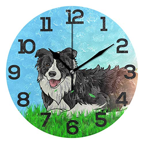 JERECY Border Collie Lay On The Ground Wall Clock Silent Non Ticking Acrylic 10 Inch Home Office School Decorative Round Clock Art