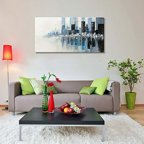 Seekland Art Hand painted Modern Textured Wall Art on Canvas Abstract Oil Painting Contemporary Cityscape Decor Picture for Living Room Bedroom Stretched Ready to Hang (Framed 48'' W x 24'' H) by Seekland Art