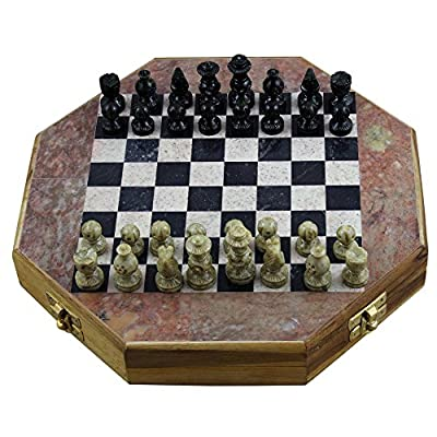 Thanksgiving Black Friday Gifts Handmade Octangle Shape Marble Stone Chess Set and Board Game 10 x 10 Inches, Gifts for Boys Girls Kids & Adults
