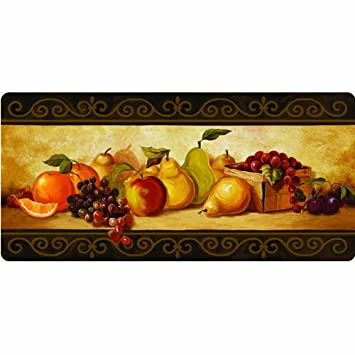 Cushion Comfort Gourmet Fruit Kitchen Mat, 20 Inch By 42 Inch