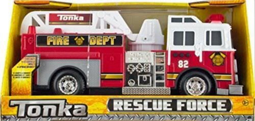 Police Fire Truck - Tonka Rescue Force Lights and Sounds 12-inch Ladder Truck - Fire Dept 82
