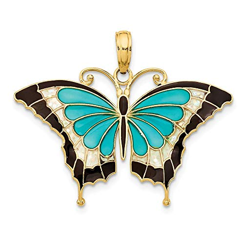 14K Yellow Gold Aqua Enameled Butterfly Pendant from Roy Rose Jewelry ()