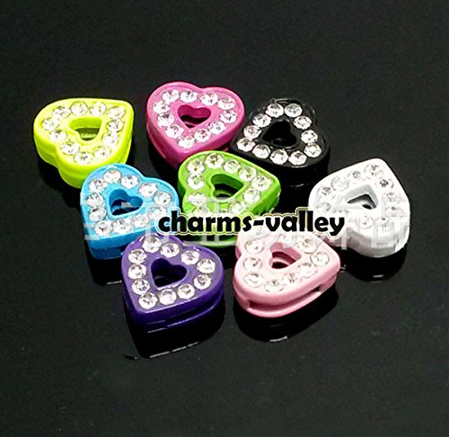 50PCS 8MM Full Rhinestone Hearts Mixed Color Cross Slide Charms DIY Accessory Fit 8mm Wristband
