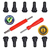 """DCFlat Snap-in Short Black Rubber Valve Stem (TR412) 10-Pack for Tubeless 0.453"""" Inch 11.5mm Rim Holes on Standard Vehicle Tires and 2 in 1 Set Dual Single Head Valve"""