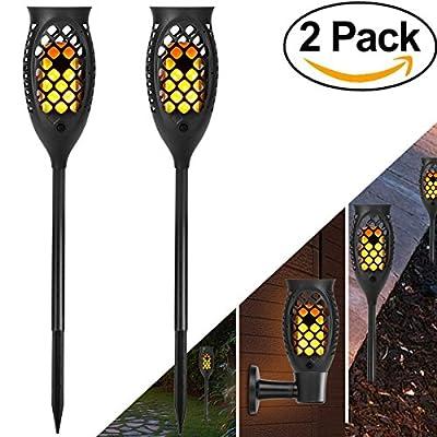 KAZOKU Solar Torch Lights 99 LED Light, Outdoor Decor Solar Garden Lights,Waterproof Dancing Flame Torch Lights, Decoration Lighting Patio,Deck,Yard,Garden,Path,Driveway (2 Pack)