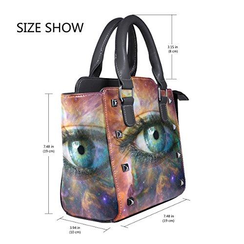 Top Handle Eye Leather Shoulder PU Universe TIZORAX Human Handbags Bags Women's Looking Hn1zxBwq8