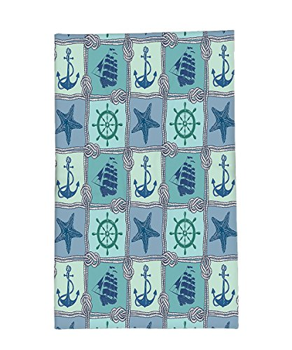 Interestlee Fleece Throw Blanket Ships Wheel Decor Nautical Patchwork Pattern With Ropes Starfish Sailing Ship Anchor And Wheel (Starfish Costume Sewing Pattern)