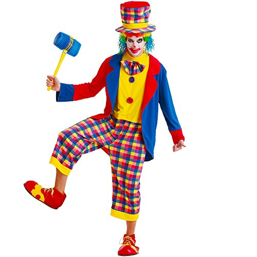 Creepy Clown Adult Men's Halloween Dress Up Theme Party Cosplay Costume (X-Large)