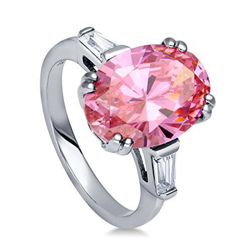 BERRICLE Rhodium Plated Sterling Silver Pink Oval Cut Cubic Zirconia CZ Statement 3-Stone Anniversary Engagement Ring 6 CTW Size 7 (Black Ring Pink Engagement)