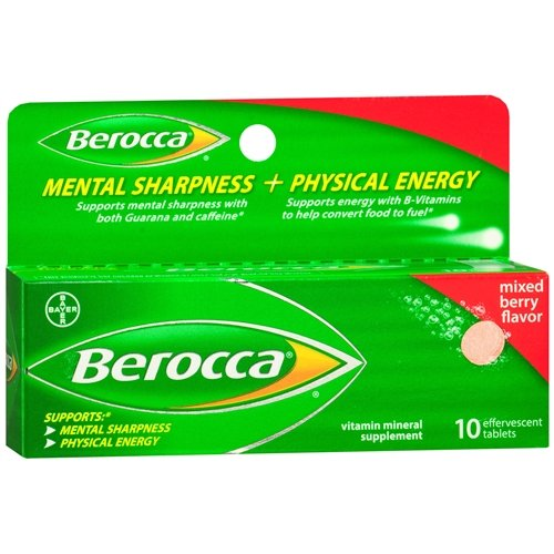 Berocca Mental Sharpness and Physical Energy Dietary Supplement Tablets 10 ea, Berry (Pack of 2) by Berocca